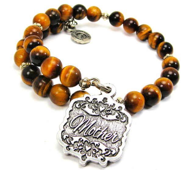 Mother Victorian Scroll Tiger Eye Wrap Bracelet