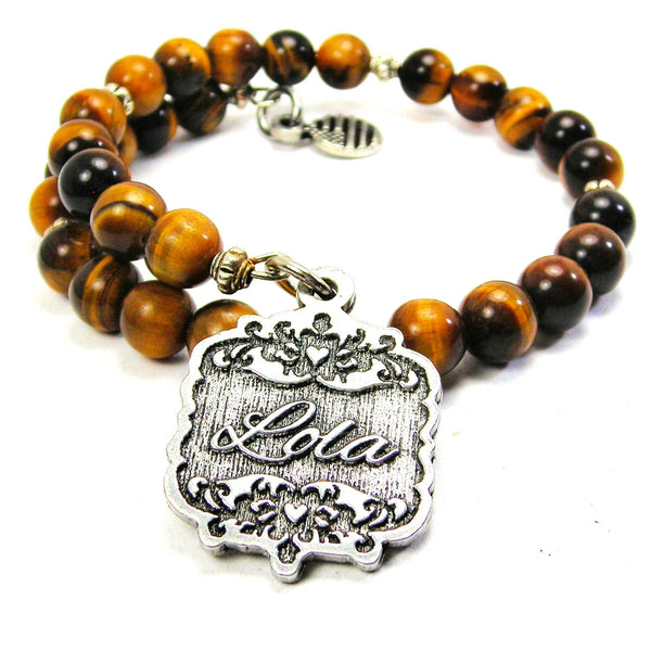 Lola Victorian Scroll Tiger Eye Wrap Bracelet