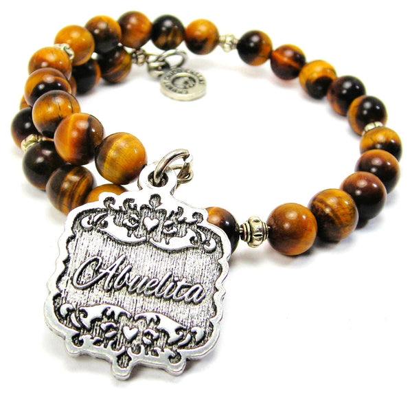 Abuelita Victorian Scroll Tiger Eye Wrap Bracelet