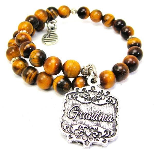 Grandma Victorian Scroll Tiger Eye Wrap Bracelet
