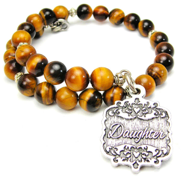 Daughter Victorian Scroll Tiger Eye Wrap Bracelet