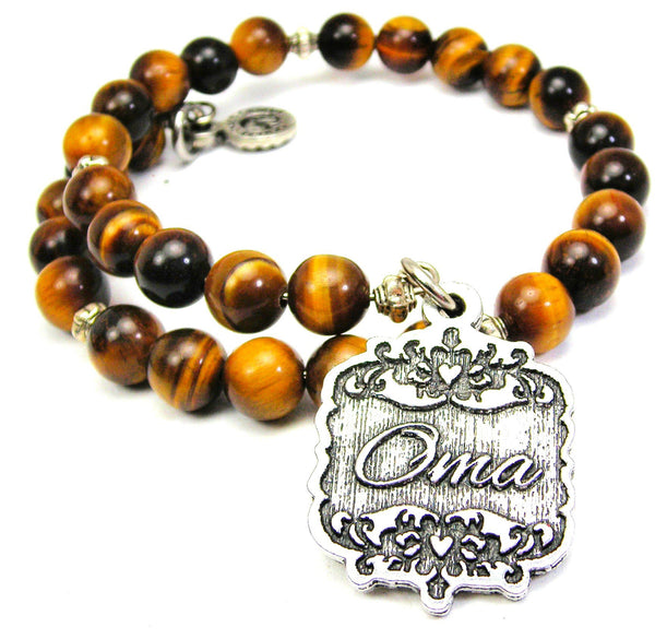 Oma Victorian Scroll Tiger Eye Wrap Bracelet