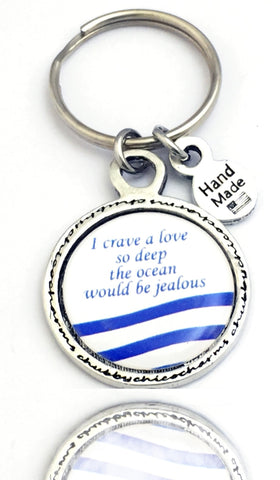 I Crave A Love So Deep The Ocean Would Be Jealous Framed Resin Key Chain