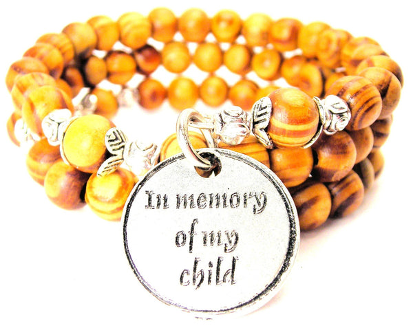 In Memory Of My Child Natural Wood Wrap Bracelet