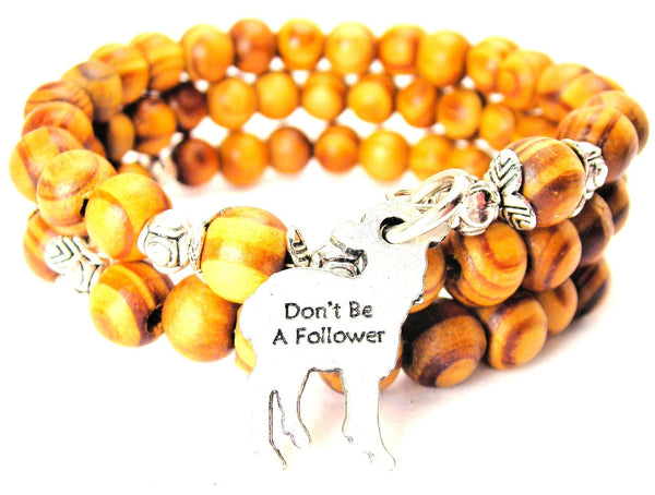 Don't Be A Follower Natural Wood Wrap Bracelet