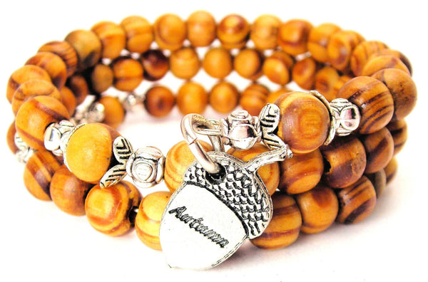 Autumn Acorn Natural Wood Wrap Bracelet