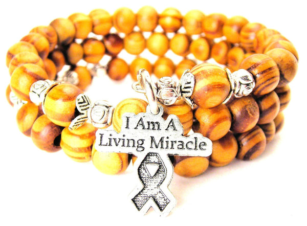 I Am A Living Miracle With Awareness Ribbon Natural Wood Wrap Bracelet