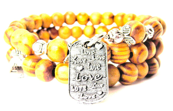 Love Love Love Dog Tag Natural Wood Wrap Bracelet