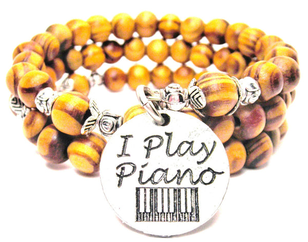 I Play Piano Natural Wood Wrap Bracelet