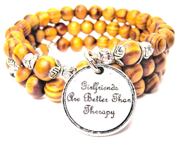 Girlfriends Are Better Than Therapy Natural Wood Wrap Bracelet