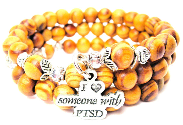 I Love Someone With PTSD Natural Wood Wrap Bracelet