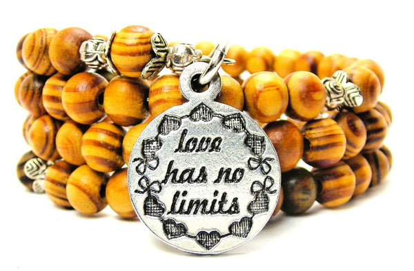 Love Has No Limits Circle Natural Wood Wrap Bracelet