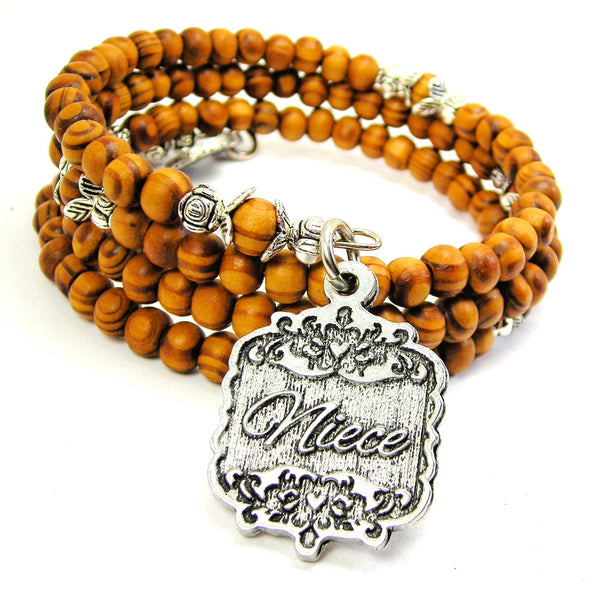 Niece Victorian Scroll Natural Wood Wrap Bracelet