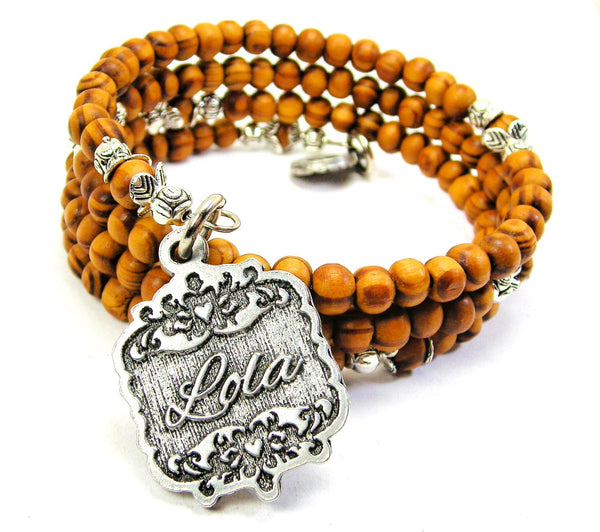 Lola Victorian Scroll Natural Wood Wrap Bracelet