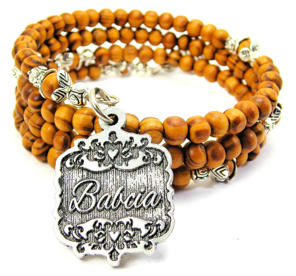 Babcia Victorian Scroll Natural Wood Wrap Bracelet