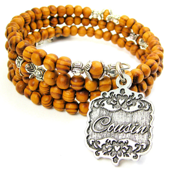 Cousin Victorian Scroll Natural Wood Wrap Bracelet