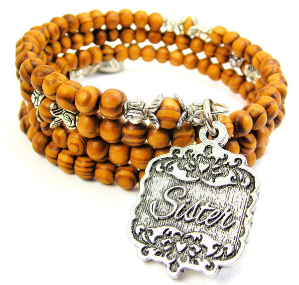 Sister Victorian Scroll Natural Wood Wrap Bracelet