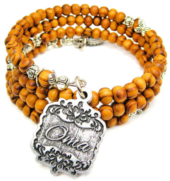 Oma Victorian Scroll Natural Wood Wrap Bracelet