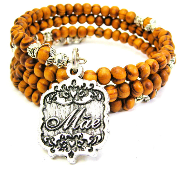 Mae Victorian Scroll Natural Wood Wrap Bracelet