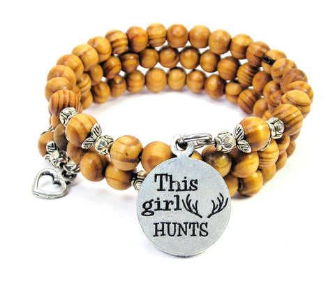 This Girl Hunts Natural Wood Wrap Bracelet