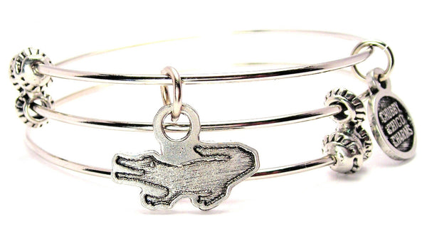 Engraved Alligator Triple Style Expandable Bangle Bracelet