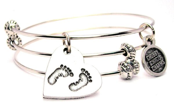 Baby Footprint On Your Heart Option 2 Triple Style Expandable Bangle Bracelet