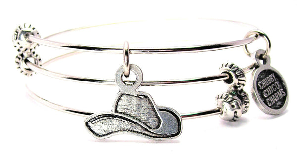 Engraved Cowboy Hat Triple Style Expandable Bangle Bracelet