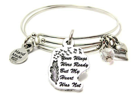 SET OF TWO - Your Wings Were Ready But My Heart Was Not Expandable Bangle Bracelet Set