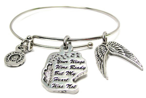 Your Wings Were Ready  Single Stacker Bangle Bracelet