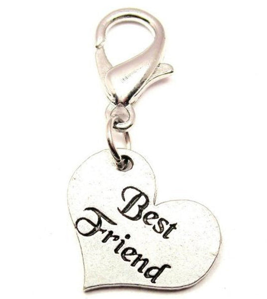 Set Of 2 Best Friend Hearts Zipper Pull