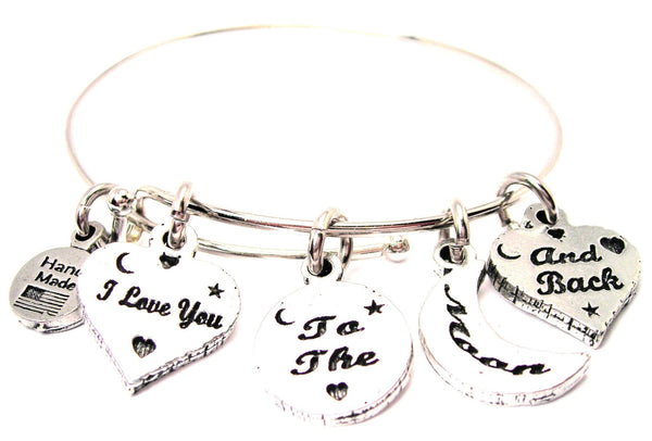 4 Charm I Love You To The Moon And Back Expandable Bangle Bracelet