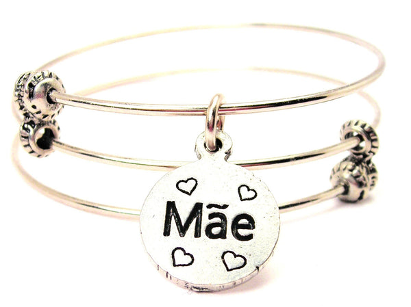 Mae Mom In Portuguese Triple Style Expandable Bangle Bracelet