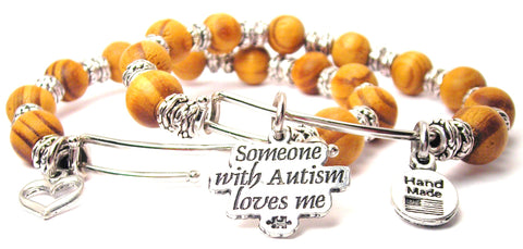 Someone With Autism Loves Me Natural Wood Double Bangle Set