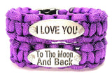 2 Piece Set I Love You To The Moon And Back 550 Military Spec Paracord Bracelet Sets - Paracord - Chubby Chico Charms