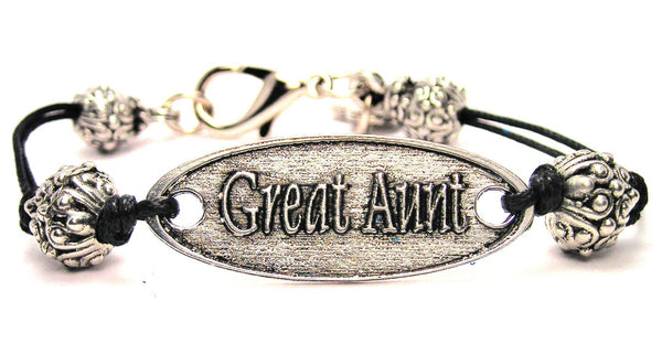 Great Aunt Pewter Beaded Plate Black Cord Bracelet