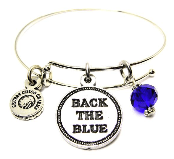 Back The Blue, Thin Blue Line, Police Vest Trio Expandable Bangles Bracelets Set