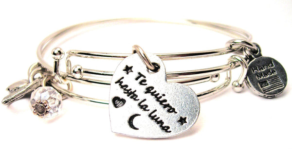 Spanish language jewelry, love jewelry, I love you to the moon and back bracelet