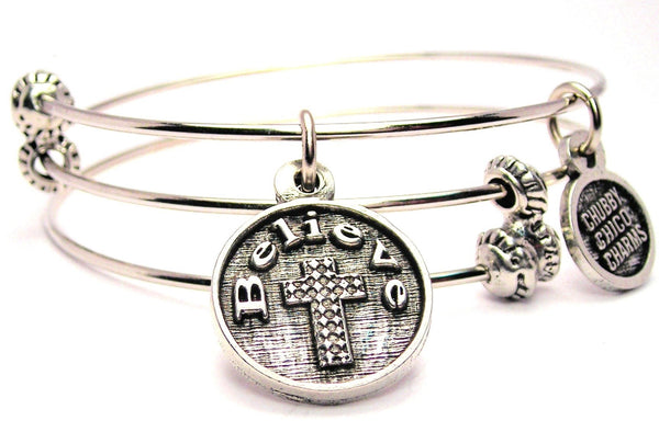 Believe With Textured Cross Triple Style Expandable Bangle Bracelet