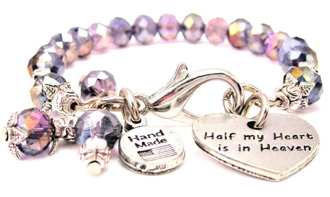 Half My Heart Is In Heaven Splash Of Color Crystal Bracelet