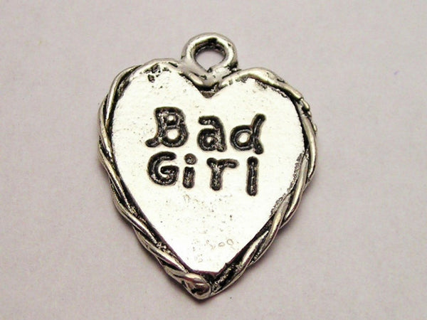 Bad Girl Heart Genuine American Pewter Charm