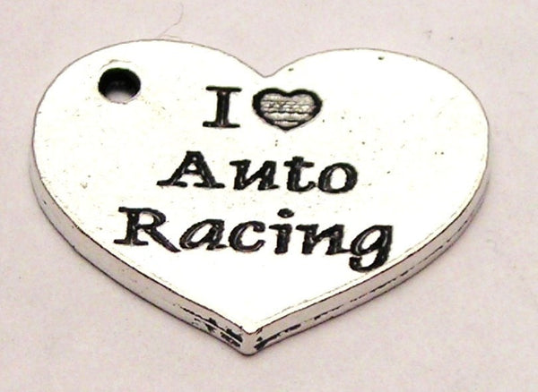 I Love Auto Racing Heart Genuine American Pewter Charm