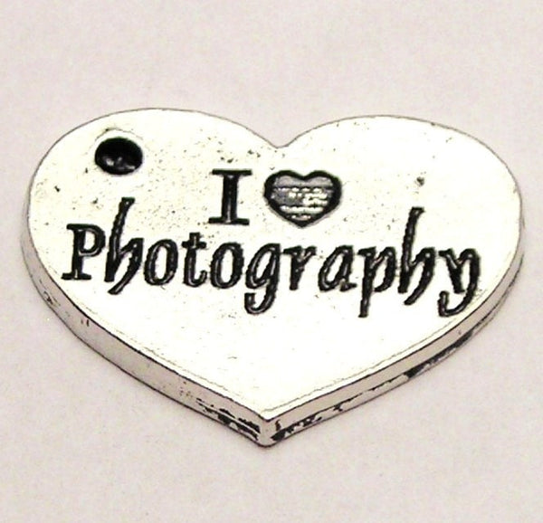 I Love Photography Heart Genuine American Pewter Charm