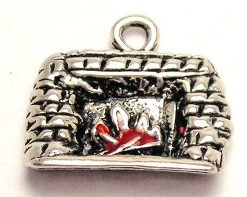 Fireplace With Red Flames Genuine American Pewter Charm