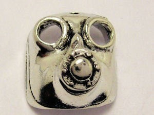 3D Gas Mask Genuine American Pewter Charm