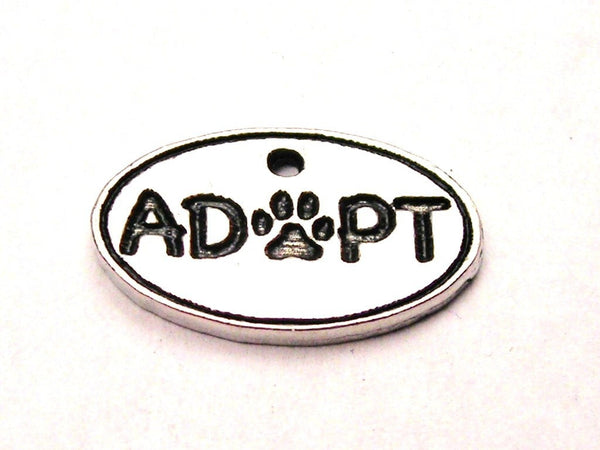 Adopt With Center Paw Genuine American Pewter Charm