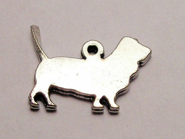Basset Hound Silhouette Genuine American Pewter Charm