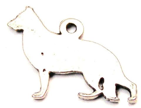German Shepherd Silhouette Genuine American Pewter Charm