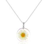 Real Daisy Flower Charm Necklace