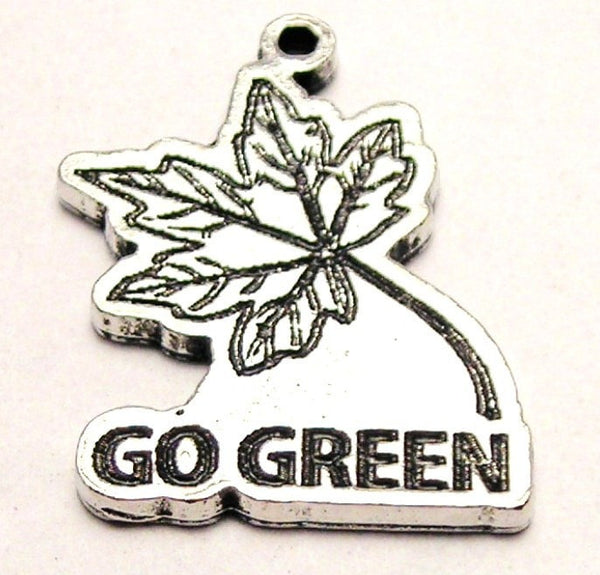 Go Green With Leaf Genuine American Pewter Charm