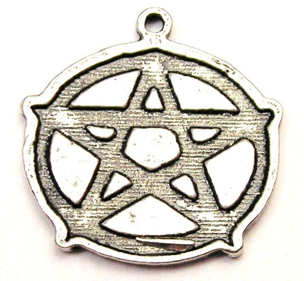 Engraved Style Pentacle Genuine American Pewter Charm